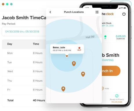 Mobile time clock app with GPS