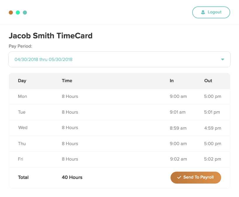 Timecard for accurate records